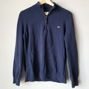 Vineyard Vines 1/4 Zip Blue Cotton Sweater Large
